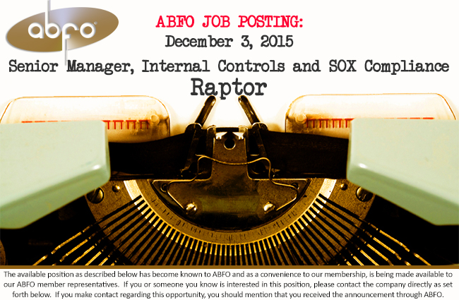 New abfo open job posting sr manager internal controls - Corporate compliance officer job description ...