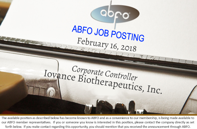new abfo open job posting corporate controller iovance