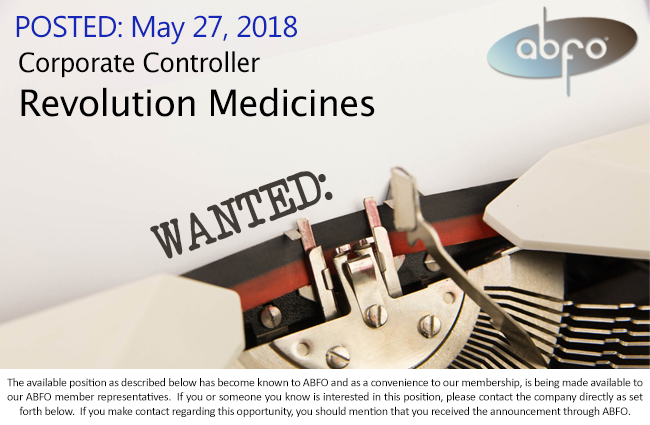 new abfo open job posting corporate controller revolution medicines