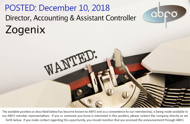 New ABFO Open Job Posting - Director, Accounting & Assistant Controller