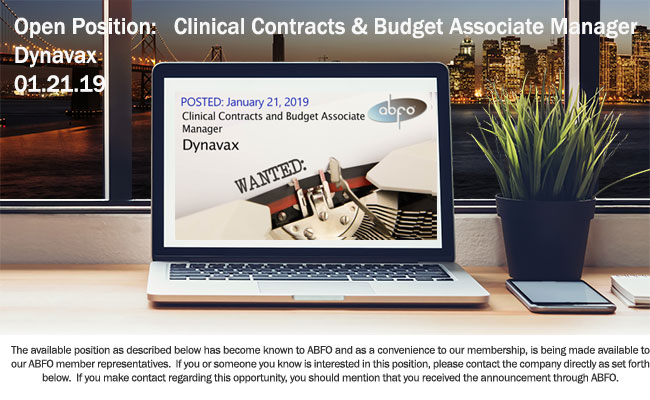 New ABFO Open Job Posting - Clinical Contracts & Budget Associate Manager - Dynavax