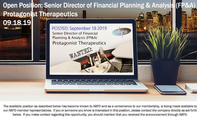 New Open Financial Posting, Sr. Director of Financial Planning & Analysis (FP&A), Protagonist Therapeutics