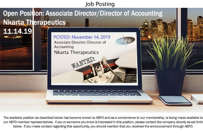 New ABFO Open Job Posting - Associate Director/Director of Accountng, Nkarta Therapeutics