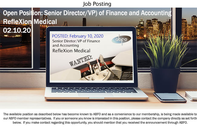 New ABFO Open Job Posting - Sr. Director/VP of Finance and Accounting