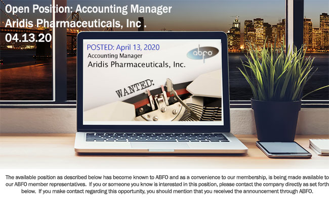 New ABFO Open Job Posting - Accounting Manager, Aridis Pharmaceuticals, Inc.