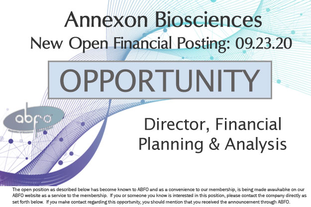 New ABFO Member Company open job posting, Director of Financial Planning & Analysis