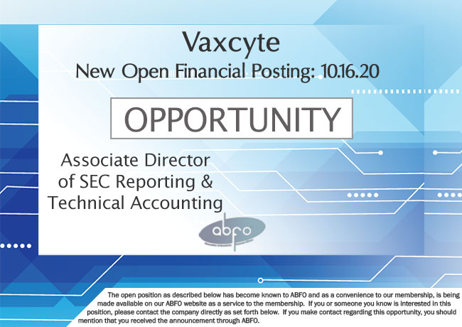 New ABFO Member Company Open Job Posting, Associate Director, SEC Reporting & Technical Accounting, Vaxcyte