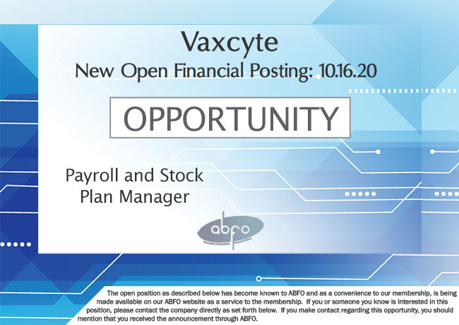 New ABFO Member Company Open Job Posting, Payroll and Stock Plan Manager, Vaxcyte