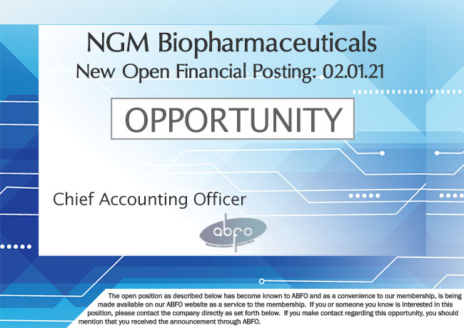 New ABFO Member Company Open Job Posting, Chief Acounting Officer, NGM Biopharmaceuticals