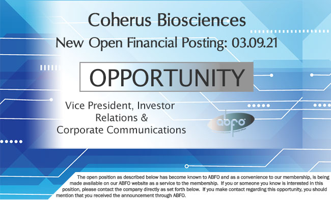 New ABFO Member Company Open Job Posting - Coherus, VP, INvestor Relations and Corporate Commuications