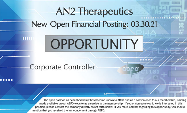 New ABFO Member Company Open Posting, Corporate Controller, AN2 Therapeutics