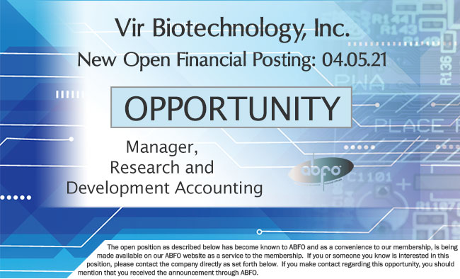 New ABFO Member Company Open Job Posting, Manager, R&D Accounting, Vir Biotechnology