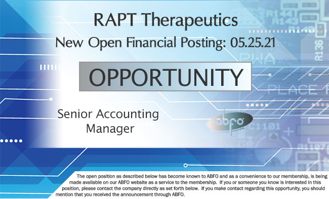 New ABFO Member Company Open Job Posting - Senior Accounting Manager, RAPT Therapeutics