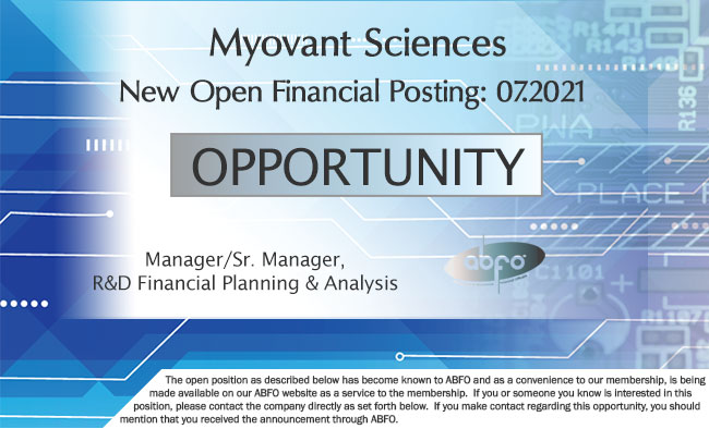 New ABFO Member Company Open Job Posting - Manager, Sr. Maager, R&D Financial Planning & Analysis