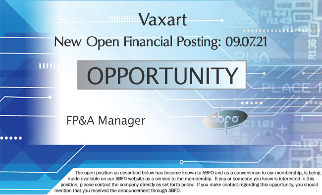 New ABFO member company open Job posting, Manager, FP&A, Vaxart