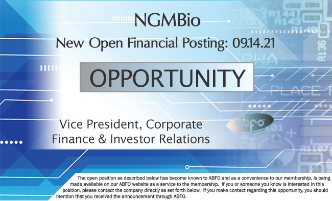 New ABFO Member Company Open Financial Posting - NGM Bio - Vice President, Corporate Finance & Investor Relations