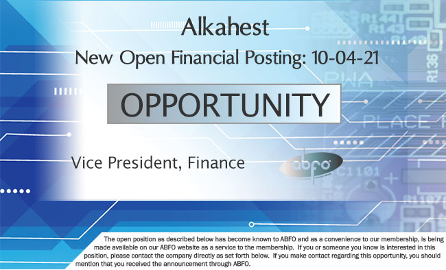 New ABFO Member Company Open Job Posting, Vice Presdient, Finance, Alkahest