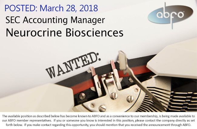 New ABFO Open Job Posting - SEC Accounting Manager - Neurocrine Biosciences