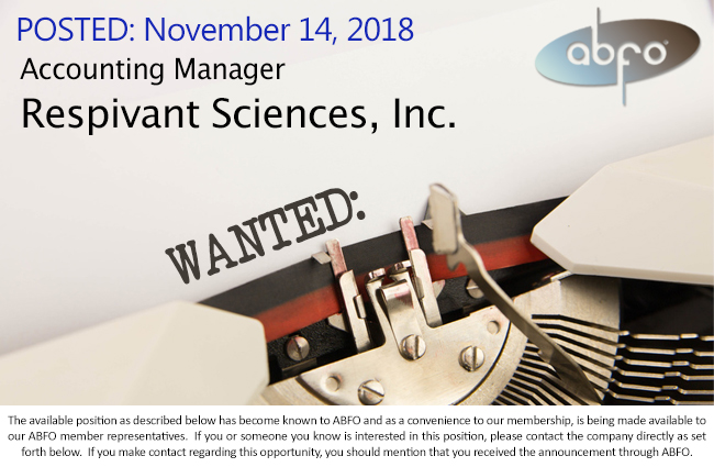 New ABFO Open Job Posting - Accounting Manager - Respivant Sciences, Inc.