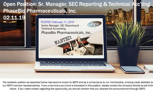 New ABFO Open Job Posting - Sr. Manager, SEC Reporting and Technical Accounting - PhaseBIo Pharmaceuticals