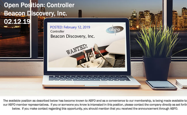 New ABFO Open Job Posting - Controller - Beacon Discovery, Inc.
