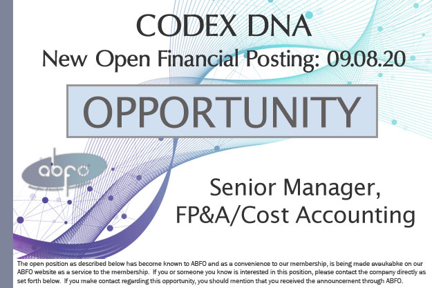 New ABFO Open Member Company posting - CODEX DNA, Senior Manager, FP&A/Cost Accounting