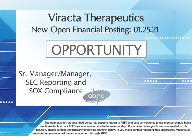 New ABFO Open Job Posting, Manager, SEC Reporting and SOX Compliance, Viracta Therapeutics