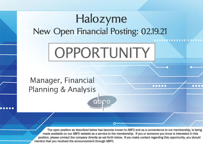 New ABFO Member Open job posting - Manager, FP&A, Halozyme